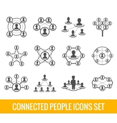 Connected people black icons set vector