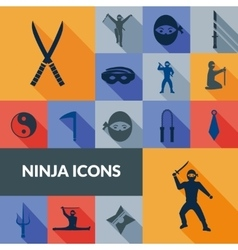 Ninja icons black set vector