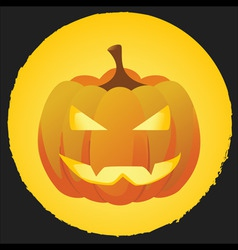 Pumpkin on bright orange background with black bor vector