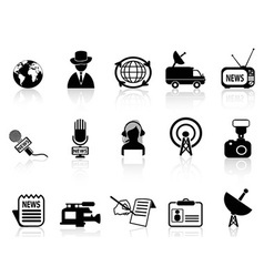 News reporter icons set vector