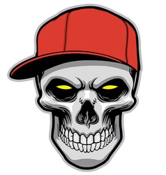 Skull head wearing a hat vector