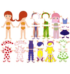 Paper doll and a set of clothing for the summer vector