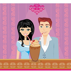 Young couple flirt and drink coffee vector