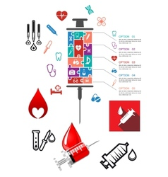 Medical and hospital infographics with icons vector