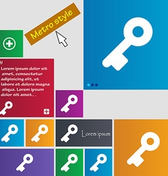 Key icon sign metro style buttons modern interface vector