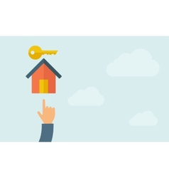 Hand pointing to a house key icon vector