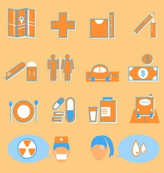 Hospital and medical color icons on orange vector