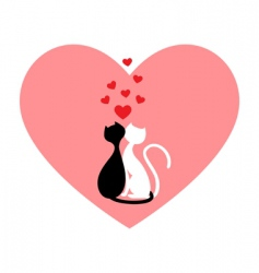 Black cat and white cat vector