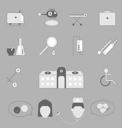 Hospital and emergency icons on gray background vector