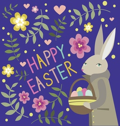 Happy easter composition with rabbit vector