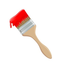 Paint brush and red paint vector