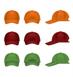 Colorful baseball caps vector