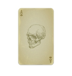 Poker card with skull vector