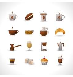 Polygonal coffee icons set vector