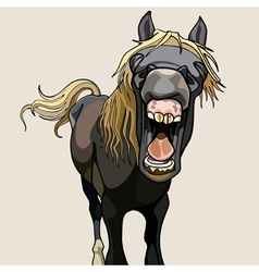 Funny horse neighs wide open mouth vector