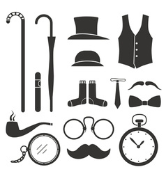 Gentlemens vintage stuff design elements collectio vector