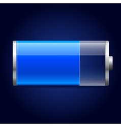 Glossy blue battery icon vector