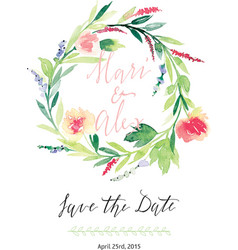 Watercolor save the date flowers vector