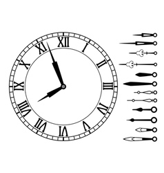 Clock dial with roman numbers vector
