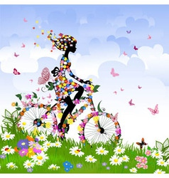 Girl on bike outdoors in summer vector