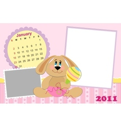 Babys monthly calendar for january 2011s vector