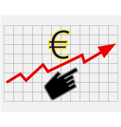 Rise equity price of euro vector