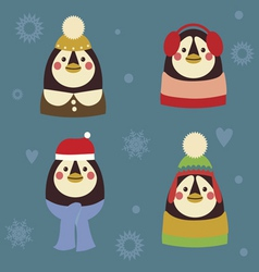Holiday penguins family vector