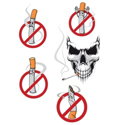 No smoking sign and skull vector