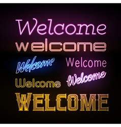 Neon sign welcome vector