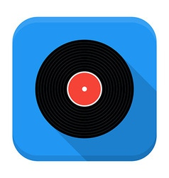 Music vinyl record flat app icon with long shadow vector