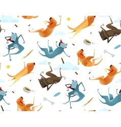Happy dogs and doggy food seamless pattern vector