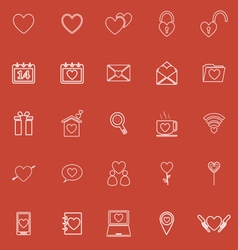 Love line icons on red background vector