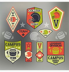 Set of emblems ollege sport team rugby vector