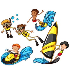 A group of people enjoying the watersport vector