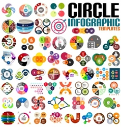 Huge modern circle infographic design template set vector