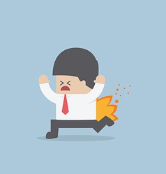 Businessman running with his pants on fire vector