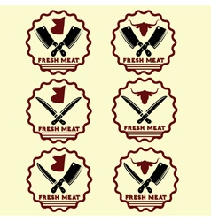 Set of fresh meat emblems vector