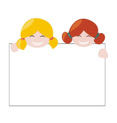 Girls holding white empty banner vector