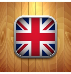 Rounded square united kingdom flag icon on wood vector