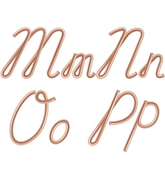 M n o p letters made of metal copper wire vector