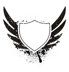 Grunge retro emblem with shield vector