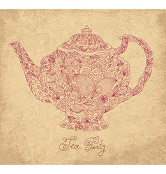 Teapot on sepia background vector