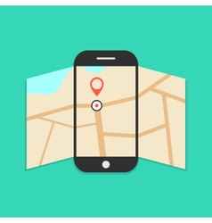 Smartphone with opened map isolated on green vector