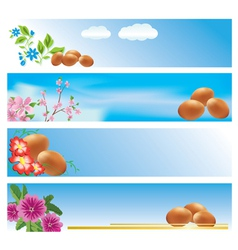 Set of blue banners with easter theme vector