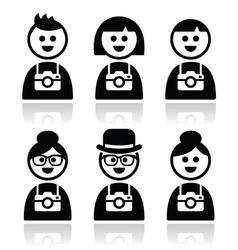 Tourist travelling people with cameras icons set vector