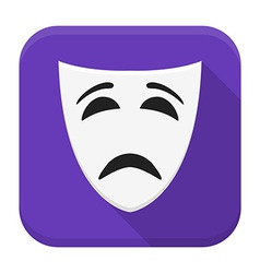 Sad mask app icon with long shadow vector