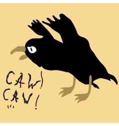 Black bird crow on the yellow background vector