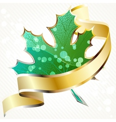 Shiny green leaf with gold banner vector