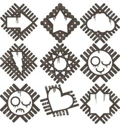 Set of grunge icon vector