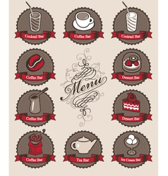 Drinks and dessert vector